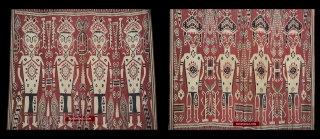 Heirloom Iban Ikat Pua Kumbu Textile with two rows of humans,each row displaying different hair styles / head cloths & different tattoo patterns on their legs & chest. https://wovensouls.com/products/1449-antique-iban-ikat-pua-kumbu-woven-textile-from-sarawak