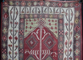 Anatolian Prayer kilim from Gomurgen in the Kayseri region. Finely woven, very good drawing and in good condition with limited small repairs. Use of two different very fine metallic bound threads in  ...