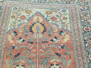 Antique Tabriz Haji Jalili prayer Rug circa 1880 good condition  4-3x5-5.