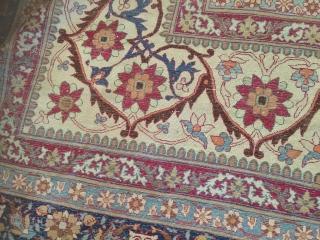 14-2x15-9 antique Kerman Lavar cut from the center  Reduced length, has some random wear area.