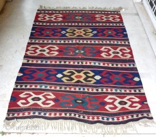 "Beautiful Azerbaijan kilim, South East Caucasus, 19th c. (247 cm. x 188 cm / 8'1"" x 6'2"")"