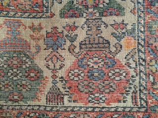Old and fine Melayer rug (178 x 128 cm). Exquisite border with an ivory field and silk highlights. Floor ready condition.
