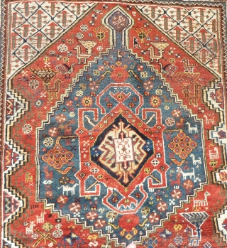 South persian Khamseh antique rug. Size: 285 X 150cm/ 9,35 X 4,92 feet