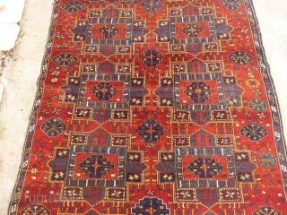 Rare and beautiful Caucasian Kuba carpet (284cm. x 162cm. / 9'3'' x 5'3''), Very nice design, with spaces making positive and negative repeated medallions. Pile medium to low with few little spots  ...