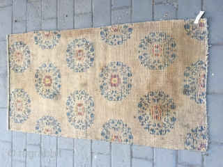 #1713 Tibet rug, light camel background with full of blue group flowers pattern. good age and quality. wool warp and weft.size 158*83cm( 62*32'')