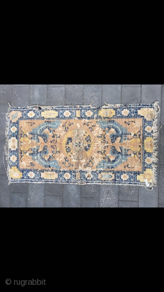 "#2026 Ningxia rug, light camel background with foo dogs pattern, it was produced earlier Qing Dynasty, good age. Size123*62cm(48*24"")"