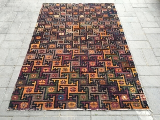 "#2038 Chinese Beijing carpet, no selvage 万 veins  with colorful flowers pattern, good age and quality, size 140*205cm(54*80"")"