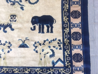 """#2043 Baotou carpet, light camel background with animal patter. Middle of double dragons around horse, deer, elephant and lion. Four cranes in the corner. Chinese """" shou"""" veins selvage. Very good wool  ..."""