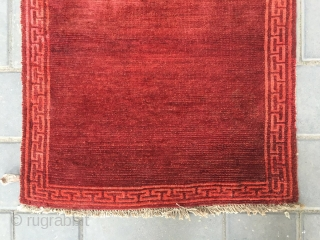 #2059 Tibet rug, simple red color , 丁 hui veins selvage, complete one, tightly row knitting, wool warp and weft. Very good age and 