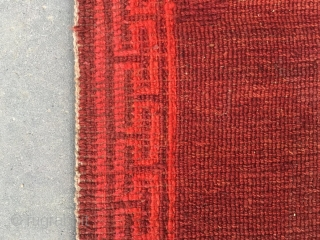 """#2059 Tibet rug, simple red color , 丁 hui veins selvage, complete one, tightly row knitting, wool warp and weft. Very good age and  quality. Size 60*80cm(23*31"""")"""