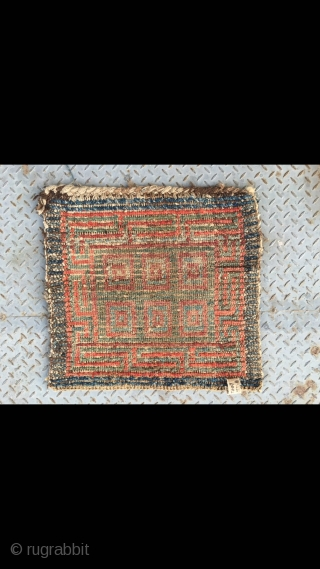 "#2060 Tibet Wangden rug, blue , green and red checker veins, good age and quality, size 56*56cm(22*22"")"