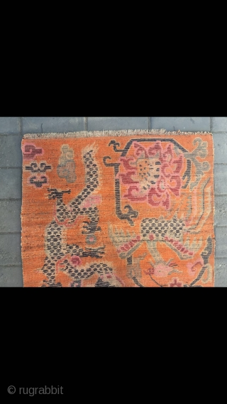 "#2063 Tibet rug, orange background with double dragon and phoenix pattern, around beautiful peony and lucky clouds veins. Good age and quality. Size 158*90cm(62*35"")"