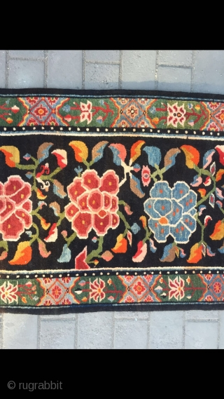 #2069 Tibet runner carpet. Black background with six group peony flowers, around with lucky clouds and sea water cliffs veins, full of colorful flowers selvage are very beautiful.Good age and quality. Size  ...