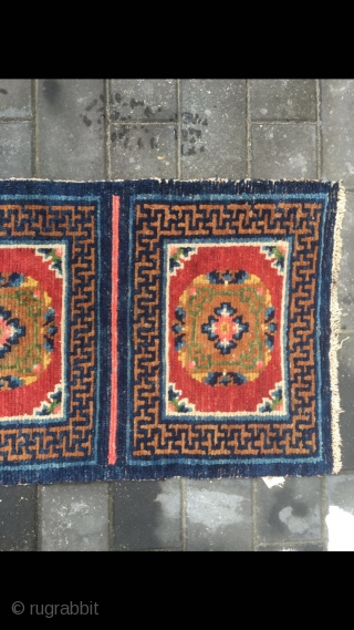 #2071 Tibet rug, five joined mat long rug, wool warp and weft. Coral red background with medallions flowers pattern. It used by lama pray in temple. Good age and quality, no any  ...