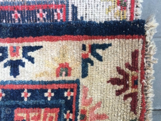 #2075 Tibet rug, blue background with single medallion flower pattern, around with beautiful colorful flowers selvage. Good age and quality. The wool of the rug very good and bright. Wool warp and  ...
