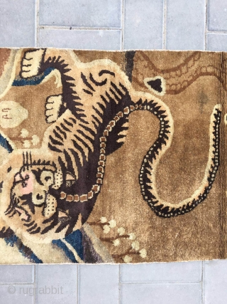 "#2077 Baotou rug. A tiger in mountain pattern. Very nice and lifelike tiger veins, good wool quality. No any repair. Size 143*75cm(size 56*29"")"