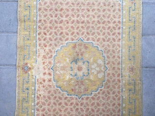 #2080 Ningxia rug, one flowert medalllion , symbolize rich and lucy fortune full of money coin veins. very good age. size  111*57cm (43*22')