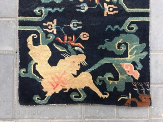 #2081 Tibet rug, blue backgound with double bat with flower and lucky cloud veins. In Chinese, the pronunciation of Fu of bat (Bian Fu) is same with prinunciation of Fu of happiness,  ...