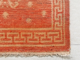 """Tibet rug, group flowers pattern around with Buddha hand pattern. Good age and condition. Size 80*146cm(31*57"""")"""