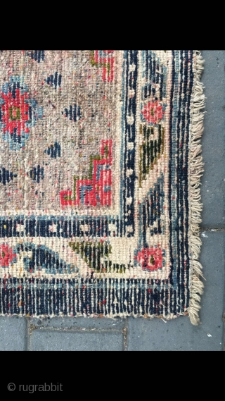 "#2091 Tibet rug, camel background with single group flower with Buddha fingers veins. Flower selvage. Good age and quality. Size 58*61cm( 23*24"")"