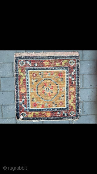 "#2089 Tibet rug, camel background with group flower pattern, around full of flowers veins. Good age and quality. Size 63*63cm(25*25"")"
