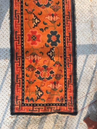 "Tibet runner carpet, orange background with full of colorful flowers pattern, Ding shape veins selvage. Good age and quality. Wool warp and weft.Size 405*78cm(158*30"")"