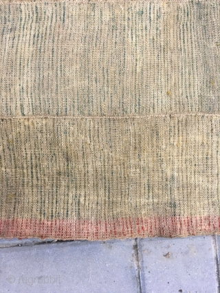 "Tibet tsuktruk rug,  yellow / green with very beautiful natural color cutting. Red selvage wool warp and weft. Complete one no any repair. Good age. Size 135*66cm(53*26"")"