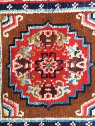 Tibet rug, 3piecs square joined, brown background with medallion flowers pattern , Ding shapes hui veins. Very good condition. Size 176*76cm