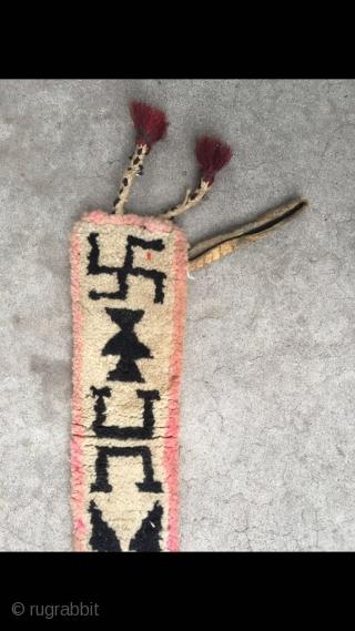 Tibetan wool belt, Teeth white background, geometric pattern. Wool warp and weft. Size 65*8cm