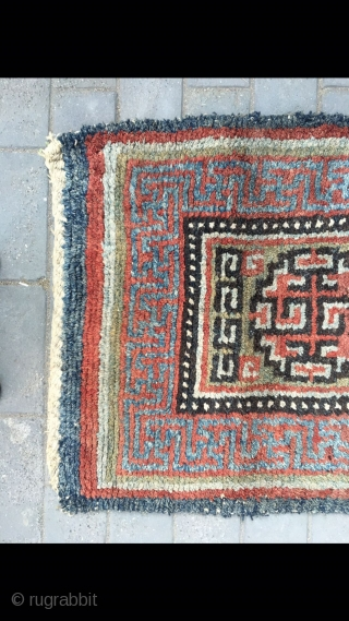 "Tibet rug, green background with three medallion veins. Good age and condition. Size 88*168cm(34*66"")"