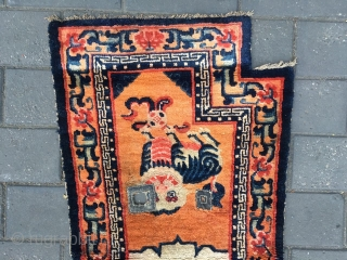 #1722 Baotou horse saddle rug,It was produced in Baotou area in the 19th century. orange background with lively two Foo dogs pattern, flower selvage, very nice veins. good quality. size 135*65cm(53*25'')