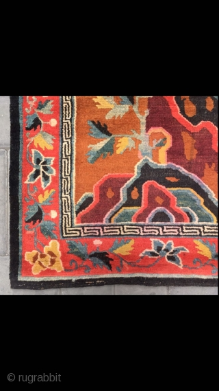 "Tibet rug, yellow background with beautiful flowers veins. Good age and condition. Size 80*160cm(31*62"")"