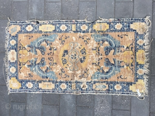 #1807 Ningxia rug , it was produced in about middle Wing Dynasty, dragon pattern with flower selvge. size 122*66cm(48*26'')