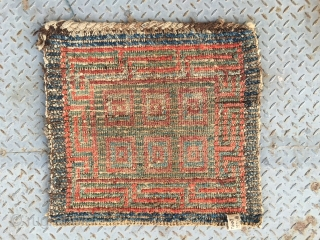 """#2005 Tibet Wangden rug. Red , yellow and blue color square checker pattern. Good age and quality. Size 67*67cm(26*26"""")"""