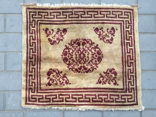 "#2002 Tibet big pray rug, light camel background with red single flower group pattern, ""丁"" shape Hui vein selvage to symbolize longevity, rich and ood fortune. wool warp and weft. good quality.  ..."