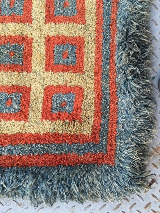 """#2011 Tibet Wangden rug, yellow red and blue square checker pattern. Very tightly row knitting. Good quality.  Rare big size 100*100cm (39*39"""")"""