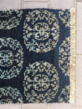 "#2019 Tibet rug, blue background with group flower veins. Size 74*54cm(29*21"")"