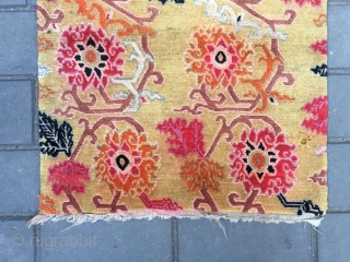 "#2020 Tibet rug, yellow background with colorful lotus flowers. Size 76*63cm ( 30*25"")"