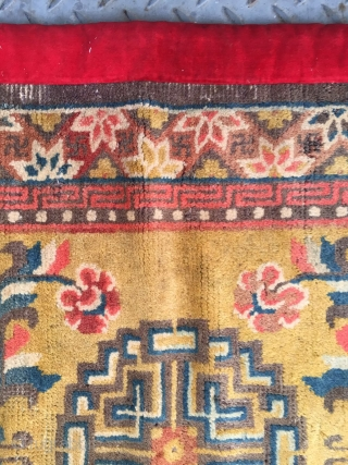 "#2007  Ningxia rug, yellow- camel background with single medallion and vase flowers veins, flowers selvage. Red old cloth packing  selvage. Good age and quality. Size 132*66cm(51*26"")"