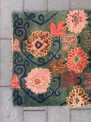#2021 Tibet rug, green background with full of lotus flowers pattern. Good age and quality.