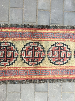 """#2016 Tibet Wangden runner. Yellow background with five groups flower pattern, Hui veins selvage. Good age and quality. 210*65cm (82*25"""")"""