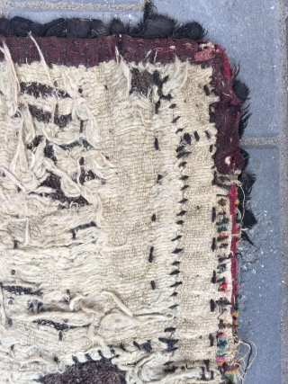 "#2015 Tibet rug. Tibet lama cushion, the back is Wangden knitting, and the front is won web with old wool cloth. Very rare. Good age and quality. Size 50*50cm(20*20"")"
