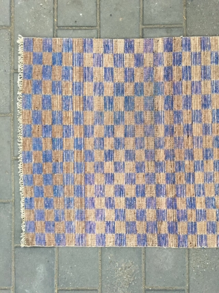 "#2020 Tibet rug, camel and purple checker pattern, good age and quality. Size 150*75cm(59*29"")"