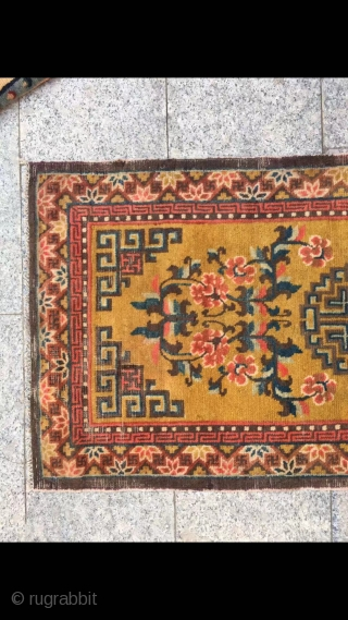 "Ningxia rug, yellow background with single group flower veins, around full nice flower selvage. Good age and condition. Size 128*62cm(49*24"")"