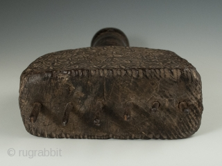 """Large weaving comb from India in carved wood and with iron tines. 12.5"""" (31.7 cm) high by 5.75"""" (14.6 cm) wide, early 20th century. Ex. Cathryn Cootner, Sonoma."""