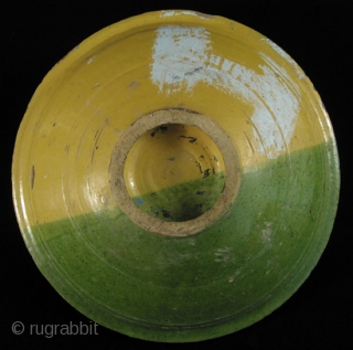 "Large bowl, chqâla. Nabeul, Tunisia. These were used at family dinners, often containing the couscous. It is said that the fish motif and the yellow/green colors symbolize water and freedom. 16.5"" in  ..."
