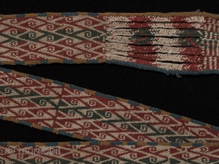 "Belt from the Aymara people of Bolivia. 19th century, wool. 50"" long by 2.75"" wide. In great shape."