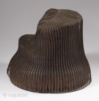 """Tanggeon with base, Korea. Horsehair, wood, 21"""" (53.3 cm) in circumference, 6"""" (15.2 cm) high. Late 19th to early 20th century. The tanggeon was worn by nobility, as well as men in the commercial and medical fields.  ..."""