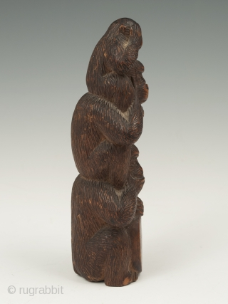 "A stack of monkeys portray the Buddhist maxim, ""See no evil. Hear no evil. Speak no evil."" Mizaru, who covers his eyes, sees no evil; Kikazaru, who covers his ears, hears no  ..."