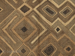 """Flat stitch raffia panel, Shoowa, a northern group of the Kuba, D.R. Congo. 20"""" (51 cm) by 24"""" (61 cm).  Mid-20th century. The line in the center is from the fold and is not a  ..."""